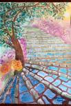"'Dancing Shade' 11""x15"" original watercolor painting 6/2/2015 The recent rainy and cloudy weather inspired me to look forward to a sunny day. I imagined I was bouncing on stairs after a rainfall. The breeze invited the plants to dance. When the leaves were moving, the sunlight slipped between the tree's shade. The tiny shadow kissed my face."