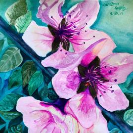 "'Pinky Spring' 11""x 15"" original watercolor painting."