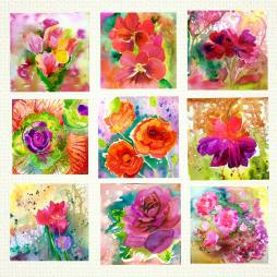 "Passionate Summer/polyptychs 8""x8"" original watercolor painting / 9 pieces paintings of 8""x8"""